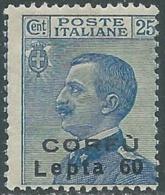 1923 CORFU EFFIGIE 60 L SU 25 CENT MNH ** - RA20 - Corfu
