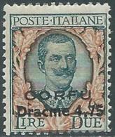1923 CORFU FLOREALE 4,75 D SU 2 LIRE MNH ** - RA20 - Corfu