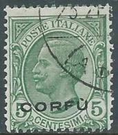 1923 CORFU USATO EFFIGIE 5 CENT - RA28-2 - Corfu
