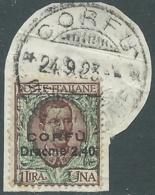 1923 CORFU USATO FLOREALE 2,40 D SU 1 LIRA - RA28-8 - Corfu