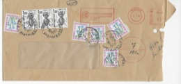 Lettre Taxée De Glasgow à Paris Pour Affranchissement Insuffisant 12½ Cents Au Lieu De 19½ Avec 8 Timbres Taxes 3,50 Fr - Tasse