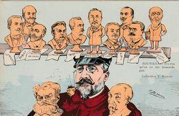 CPA Caricature Satirique Politique Statue ROUVIER / COMBES / DELCASSE / CHAUMIE / Illustrateur T. BIANCO  (2 Scans) - Persönlichkeiten
