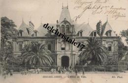 CPA SIDI-BEL-ABBÈS - ALGÉRIE  - L'Hôtel De Ville - Belle Animation Personnes Et Attelages - écrite - Sidi-bel-Abbès