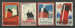 MARSEILLE / Lot 4 Vignettes Différentes FOIRE DE MARSEILLE ( * ) - Erinnophilie