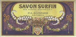 06 ANTIBES ETIQUETTE DE SAVON PUBLICITE SAVON SURFIN PARFUMEUR BOMPARD CHROMOGRAPHIE - Etiquettes