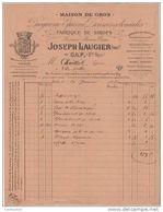 05 GAP FACTURE 1887 FABRIQUE DE SIROPS  Droguerie épicerie Joseph LAUGIER    - G3 - France