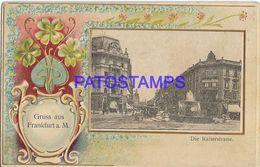 139668 GERMANY GRUSS AUS FRANKFURT VIEW STREET KAISER & TRAMWAY POSTAL POSTCARD - Non Classés