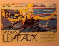NATATION - Amaury LEVEAUX...Signature...Autographe Véritable.... - Autographes