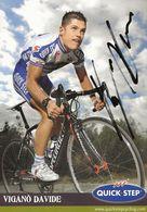 CARTE CYCLISME DAVIDE VIGANO SIGNEE TEAM QUICK STEP 2008 - Cyclisme