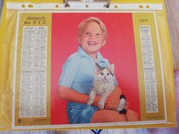 CALENDRIER FRANCE 1970 ENFANT CHATON COMPLET SEINE MARITIME - Calendari