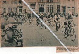 WIELERSPORT..1937..TURNHOUT DE GROTE PRIJS VOOR BEROEPSRENNERS MEULENBERGH OP KOP OVERWINNAAR RICHARD KEMPS - Vecchi Documenti