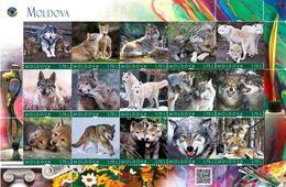 Moldova 2020, Animals, Wolves, Sheetlet Of 15v - Moldavia
