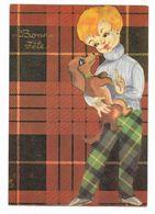 CPSM Carte Fantaisie Fillette En Pantalon Ecossais Tenant Un Chien Teckel Dans Ses Bras Photochrom 50536 - Altri