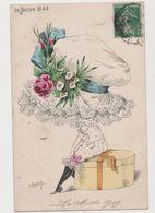Carte Fantaisie Signée Roberty / La  Mode En 1909 .Le Sourire N°48 :Femme Avec Une Très Grande Coiffe - Other Illustrators