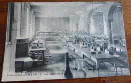 01   -     BELLEY INSTITUTION LAMARTINE LE REFECTOIRE  @  CPA VUE RECTO/VERSO AVEC BORDS - Belley