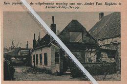 ASSEBROEK-BIJ-BRUGGE..1937.. EEN ZICHT OP DE UITGEBRANDE WONING VAN MR. ANDRÉ VAN EEGHEM - Vecchi Documenti