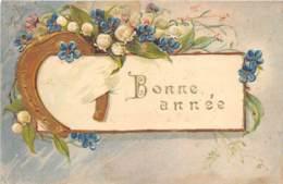 """FANTAISIE - GAUFREE - FLEURS, FER A CHEVAL - """"BONNE ANNEE"""" - Sonstige"""