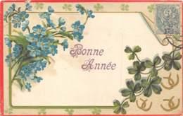 """FANTAISIE - GAUFREE - FLEURS, TREFLES - """"BONNE ANNEE"""" - Sonstige"""