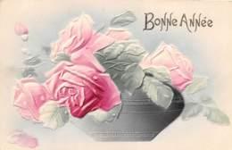 "FANTAISIE - GAUFREE - FLEURS , ROSES - ""BONNE ANNEE"" - Sonstige"