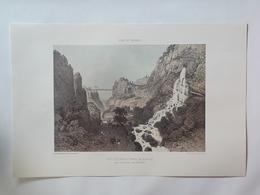Haute Savoie. Pont Suspendu Et Bains De La Caille Près De Cruseilles. Reproduction Lithographie - Lithographies