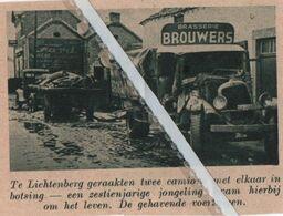 LICHTENBERG..1937.. TWEE CAMIONS IN BOTSING / BRASSERIE BROUWERS - Vecchi Documenti