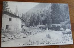 74   -     CHAMONIX LES TINES ARVE ET PASSERELLE DE LA JOUX  @  CPA VUE RECTO/VERSO AVEC BORDS - Chamonix-Mont-Blanc