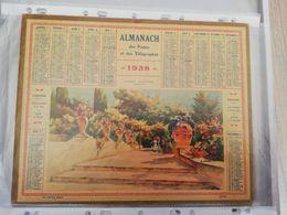 CALENDRIER FRANCE 1938 COMPLET SANS PLAN  VASES FLEURIS MENTON - Calendari