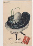 Carte Fantaisie Signée Roberty / La  Mode En 1909 .Le Sourire N°101 /Femme Avec Un Très Grand Chapeau - Other Illustrators