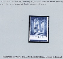Ireland 1975 Architecture 7p Major Perforation Shift With Part Next Stamp At Bottom Mint Unmounted Never Hinged - 1949-... Repubblica D'Irlanda