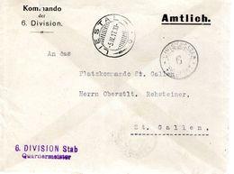 LETTRE 1917 - POSTEE A LIESTAL - COMMANDO DE LA 6E DIVISION - - Poste Militaire