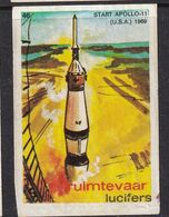 Netherlands Space Weltraum Espace: Lucifers Matchbox Labels: USA Start Apollo 11 - Zündholzschachteletiketten