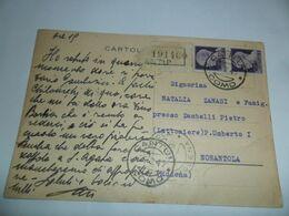 Italia REGNO INTERO POSTALE  RACCOMANDATA 1945 Da CANTU'  A NONANTOLA - Stamped Stationery