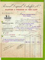 FACTURE : Filature Corderie Du Vert Gazon PIERARD DUPONT Fils Pour Moissoneuses Lieuses - France