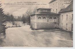 CPA Chatillon-sur-Seine - Inondations Des 20 Et 21 Janvier 1910 - Le Moulin Maître - Au Fond : Le Château - Chatillon Sur Seine