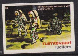 Netherlands Space Weltraum Espace: Lucifers Matchbox Label USA Apollo 14; Astronauts Picking Samples - Zündholzschachteletiketten