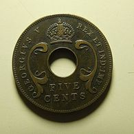 East Africa 5 Cents 1923 - British Colony
