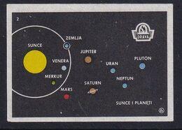 Yugoslavia Space Weltraum Espace: Drava Matchbox Label; Solar System; Sun And Planets - Zündholzschachteletiketten