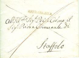 """STATO PONTIFICIO-LETTERA CON TESTO  PRIORE DI STAFFOLO (ANCONA)-16 DICEMBRE1832-""""DOMANDA PER LA MEDICA CONDOTTA VACANTE"""" - 1. ...-1850 Prefilatelia"""