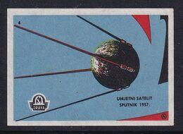 Yugoslavia Space Weltraum Espace: Drava Matchbox Label; Sputnik 1, First Artifitial Earth Satellite - Zündholzschachteletiketten