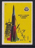 Yugoslavia Space Weltraum Espace: Drava Matchbox Label; Sputnik 1, Rocket T-3 - Zündholzschachteletiketten
