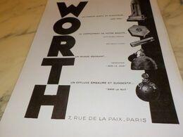 ANCIENNE PUBLICITE PARFUM WORTH 1930 - Manifesti