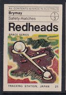 Australia Space Weltraum Espace: Readheads Matchbox Label; Tracking Station Japan - Zündholzschachteletiketten