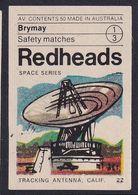 Australia Space Weltraum Espace: Readheads Matchbox Label; Tracking Antena California - Zündholzschachteletiketten