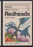 Australia Space Weltraum Espace: Readheads Matchbox Label; Nike Zeus Missile - Zündholzschachteletiketten
