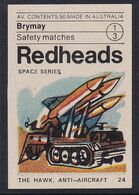 Australia Space Weltraum Espace: Readheads Matchbox Label; The Hawk; Anti Aircraft Rockets - Zündholzschachteletiketten