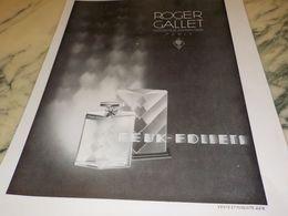 ANCIENNE PUBLICITE PARFUM FEUX FOLLET DE ROGER GALLET  1930 - Manifesti