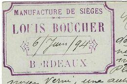 1894 / Carte Commerciale Louis BOUCHER / Manufacture De Sièges / 33 Bordeaux - France