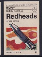 Australia Space Weltraum Espace: Readheads Matchbox Label; Midas 3; The Missile Defense Alarm System; Satellites - Zündholzschachteletiketten