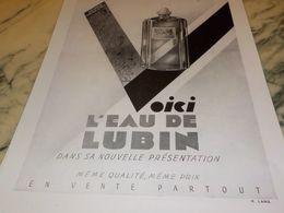 ANCIENNE PUBLICITE PARFUM L EAU DE LUBIN 1930 - Manifesti