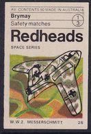 Australia Space Weltraum Espace: Readheads Matchbox Label; WW II; Messerschmitt; Germany - Zündholzschachteletiketten